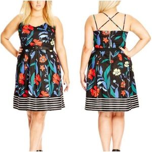 City Chic Boat House Floral Fit & Flare Dress 20